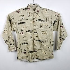 Woods & Water Outfitters Shirts - Woods & Water Mens Fish Bait Pattern Button Down